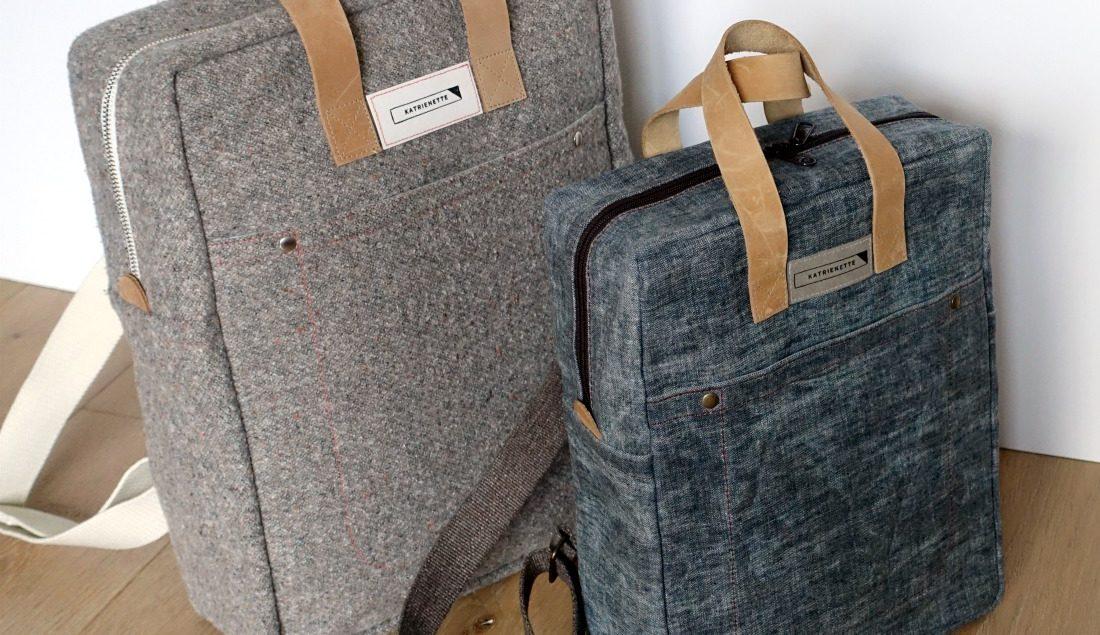 88dcc021c56 Katrien Katrienette Making Backpack Noodlehead rugzak resize small klein  kleinere versie waxed cotton denim oilskin leather